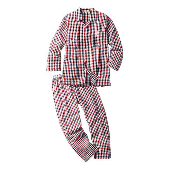 綿100% シアサッカー シャツパジャマ (ウ)レッド系