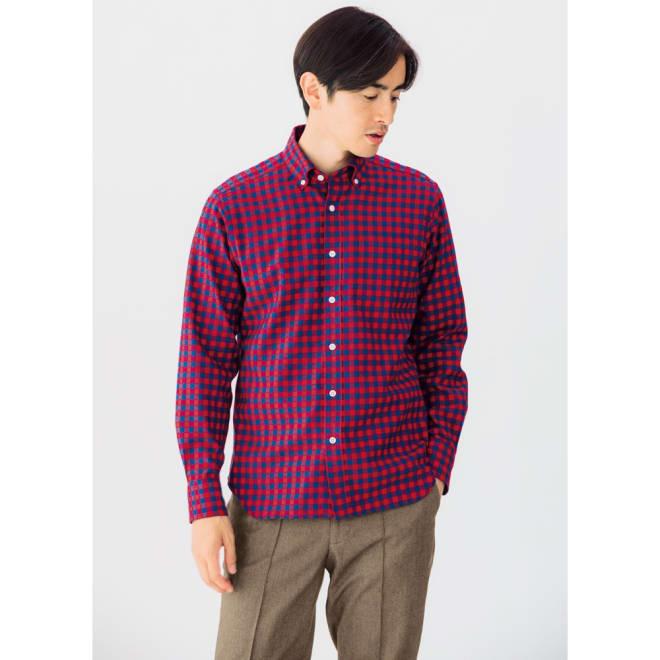 SCENE(R)/シーン 7DAYSジャパンメイドシャツシリーズ ツイルレッドチェック コーディネート例