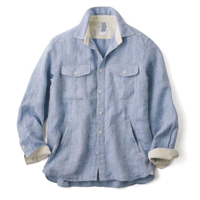 リネンサマートラベルシャツ ジャケット 着用例
