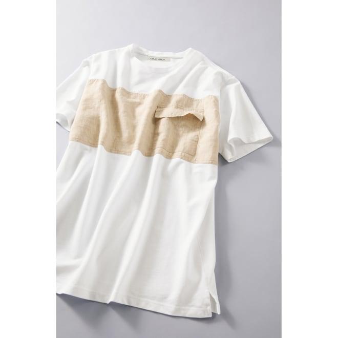LOLA VIOLA/ローラ ヴィオラ リネン切り替えTシャツ (ア)ブラック×ネイビー 着用例