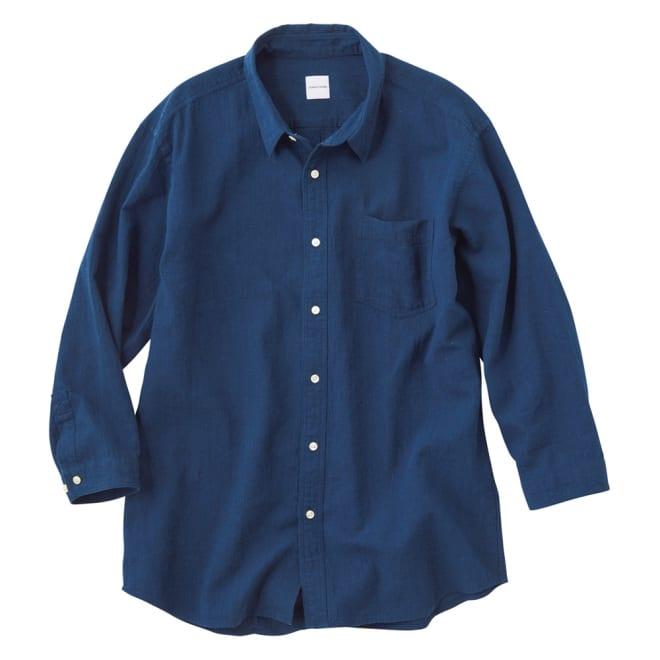 ジャパンファブリック リネンブレンド7分袖シャツシリーズ ネイビーダンガリー 着用例