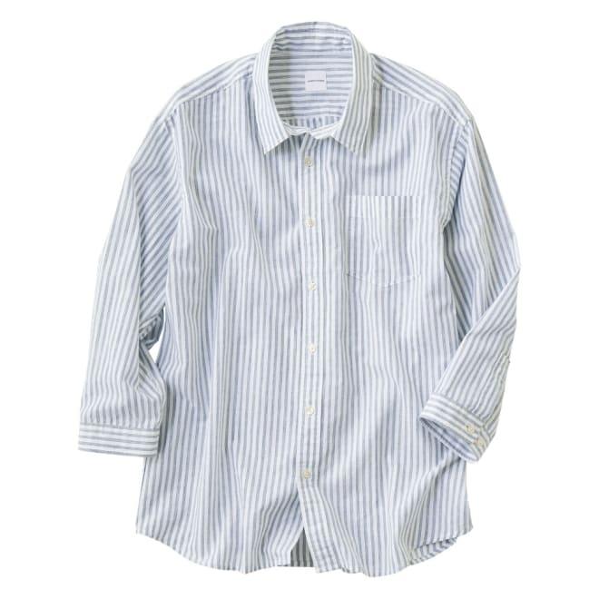 ジャパンファブリック リネンブレンド7分袖シャツシリーズ ストライプ 着用例