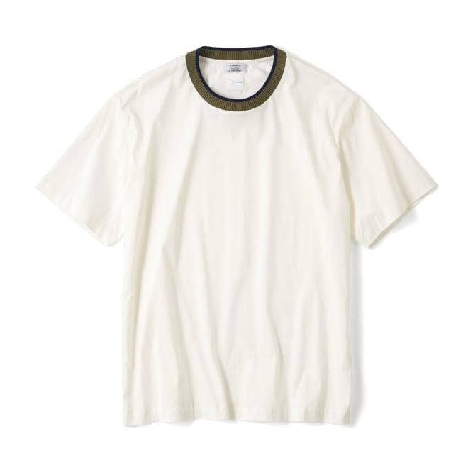 「i cotoni di ALBINI」 ニットドッキングTシャツ (ウ)マスタード 着用例
