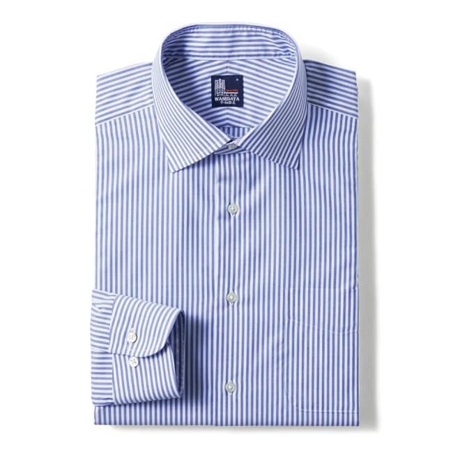 100番双糸 GIZAコットン ワイドカラー ワイシャツ (ア)ストライプ