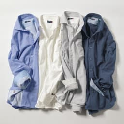 SCENE(R) 今治タオルシャツ 左から(ア)サックス (イ)ホワイト (ウ)ストライプ (エ)ネイビー