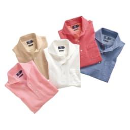 「GIM」 綿麻デザインポロシャツ 左から(ア)ピンク (イ)ベージュ (ウ)ホワイト (エ)レッド (オ)ブルー