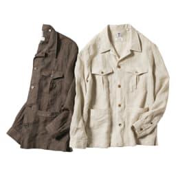 「Albini」 リネン サファリシャツジャケット 左から(ア)ブラウン (イ)キナリ