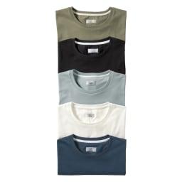 「i cotoni di ALBINI」 超長綿ドレスTシャツシリーズ クルーネック 上から(ア)カーキ (イ)ブラック (ウ)ブルーグレー (エ)ホワイト (オ)ネイビー