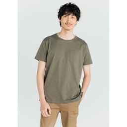 「i cotoni di ALBINI」 超長綿ドレスTシャツシリーズ クルーネック (ア)カーキ コーディネート例