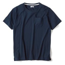 「i cotoni di ALBINI」 超長綿ドレスTシャツシリーズ クルーネック (オ)ネイビー
