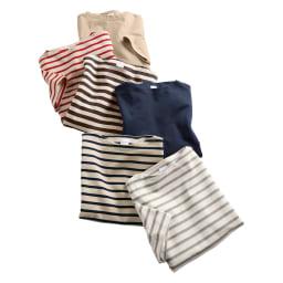 フランス「BUGIS」社 バスクシャツシリーズ ショートスリーブ 上から(イ)ベージュ無地 (カ)レッドボーダー(web限定色) (ウ)ブラウンボーダー (エ)ネイビー無地 (ア)ネイビーボーダー (オ)グレーボーダー