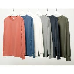 スッキリ袖リブドレスTシャツ 左から(ア)グレイッシュピンク (イ)ブルー (ウ)ホワイト (エ)ライトグレー (オ)ダークグレー (カ)カーキ