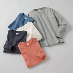 スッキリ袖リブドレスTシャツ 上から(エ)ライトグレー (イ)ブルー (ウ)ホワイト (オ)ダークグレー (ア)グレイッシュピンク