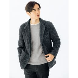 カシミヤ混ケーブル編み ニットプルオーバー (イ)グレー 着用例