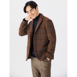 「Harris Tweed」 ウールジャケット (イ)ブラウンチェック 着用例