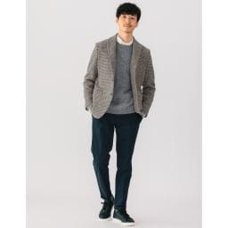 「Harris Tweed」 ウールジャケット (ア)グレー千鳥 着用例
