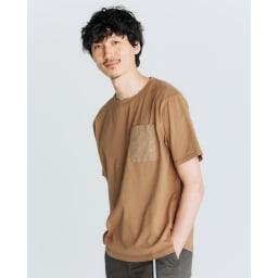 布帛切替オーガニック Tシャツ (イ)キャメル コーディネート例
