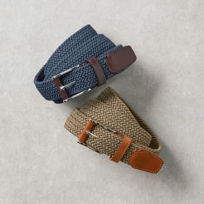 BELTS/ベルツ 編み込みメッシュベルト 上から(ア)ブルー (イ)カーキ