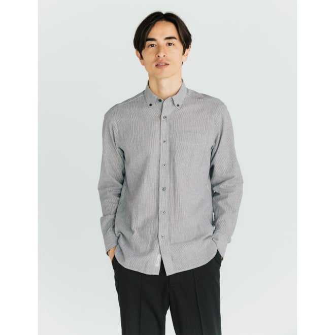SCENE(R) 7DAYS ジャパンメイドシャツシリーズ 綿麻ストライプ コーディネート例