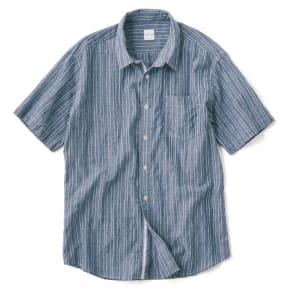 オーガニックコットン ショートスリーブシャツシリーズ ピンストライプネイビー 写真