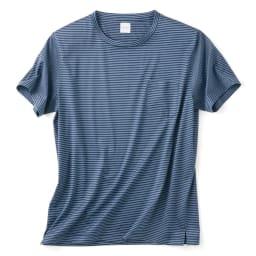 「Besani」 超長綿ダブルシルケットTシャツ (ア)ネイビー