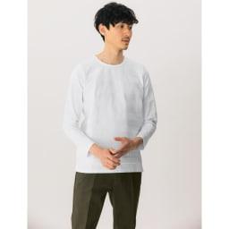 リンクス編み長袖Tシャツ (イ)ボーダーホワイト 着用例