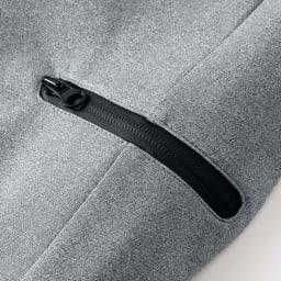 ハイストレッチ スウェット パンツ サイドポケットにもデザインファスナーを使用。小銭やスマホを入れても、飛び出す心配がありません。