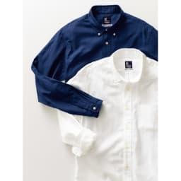 「GIZA88」 ボタンダウンオックスシャツ(日本製) 上から(ア)ネイビー (イ)ホワイト