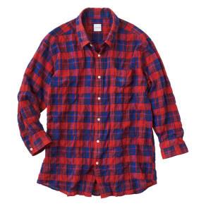 リネンブレンド7分袖 清涼レッドチェックシャツ 写真