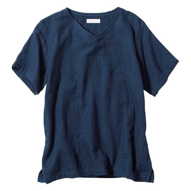 マシュマロガーゼ ルームウェアTシャツ ふわふわな着心地をぜひ。パンツ(UR87-03)とセットで着用しても〇 (ア)ダークブルー
