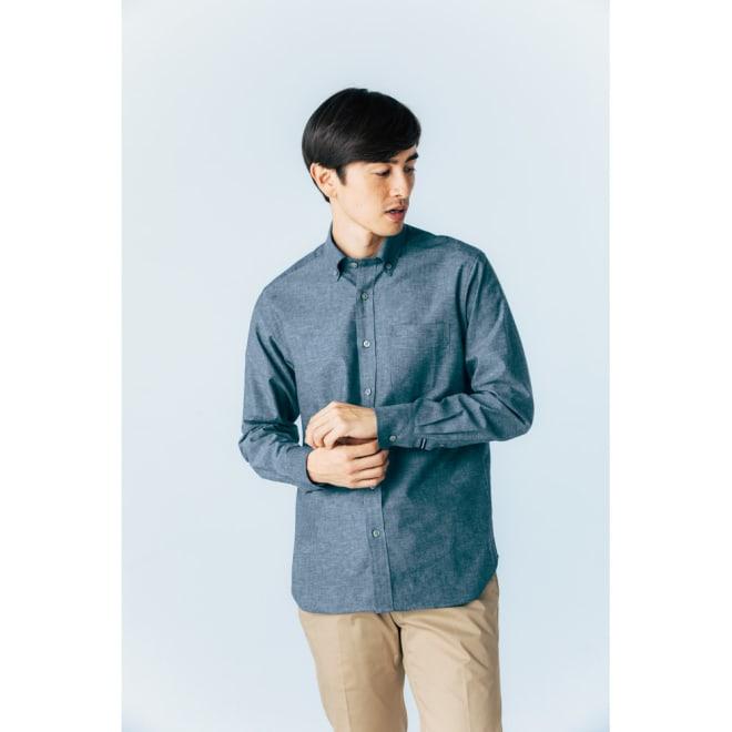 SCENE(R)/シーン 7DAYSジャパンメイドシャツシリーズ 綿麻ダンガリー コーディネート例