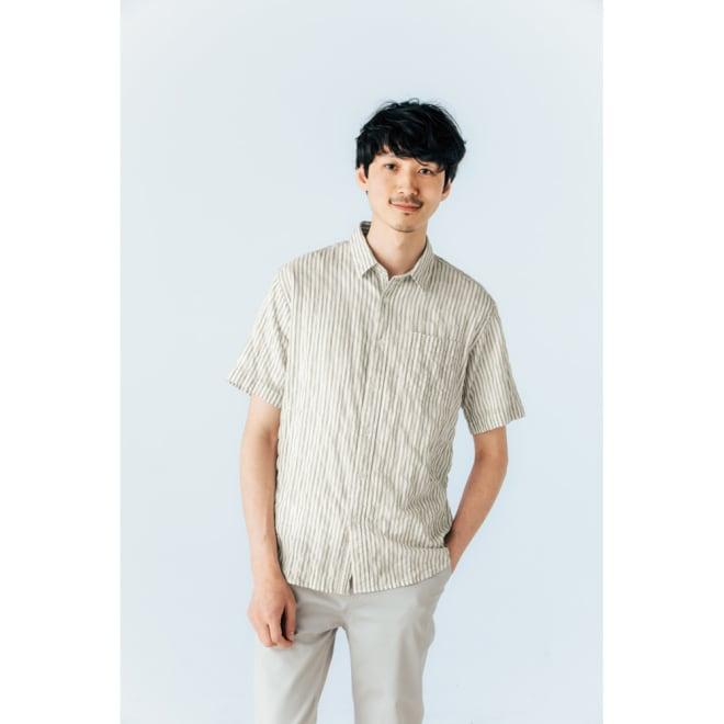 オーガニックコットン ショートスリーブシャツシリーズ シャーリングホワイト コーディネート例