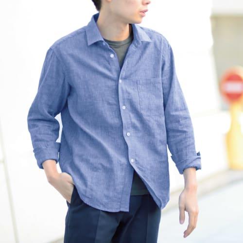 リネンコットン ハケ目 カジュアルシャツ 画像
