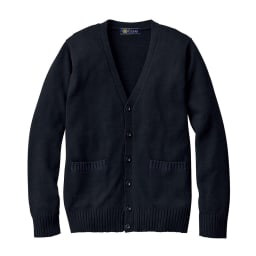 年間使いやすい 綿100% Vネック ニットカーディガン (ア)ブラック