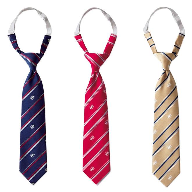 ゴム仕様で着用かんたん!スクール ネクタイ 左から (ア)ネイビーブルー、(イ)レッド、(ウ)ベージュ