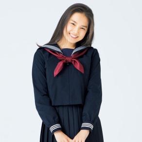 スカーフ付き 長袖 セーラー服(ネイビー) 写真