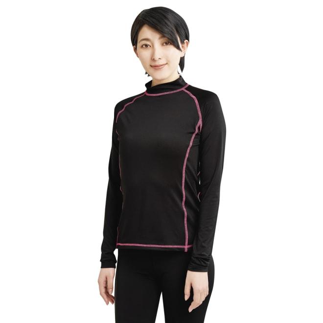 UVカットラッシュガードシャツ スリム効果のある配色ステッチ コーディネート例 (イ)ブラック ※お届けはラッシュガードシャツのみです。