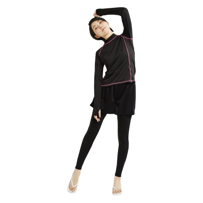 UVカットラッシュガードレギンスパンツ&UVカットショートパンツ (イ)ブラック&ブラック ラッシュガードシャツと合わせればマリンスポーツ等でもしっかりガード