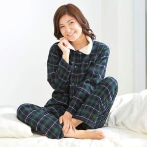 暖かボア付綿100%パジャマ 写真