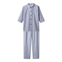 綿100%先染めボーダーパジャマ (ア)ブルー