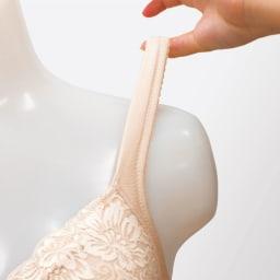綿混 ノンワイヤーブラジャー 同色2枚組 POINT3.伸びて、くい込みにくい幅広ストラップ