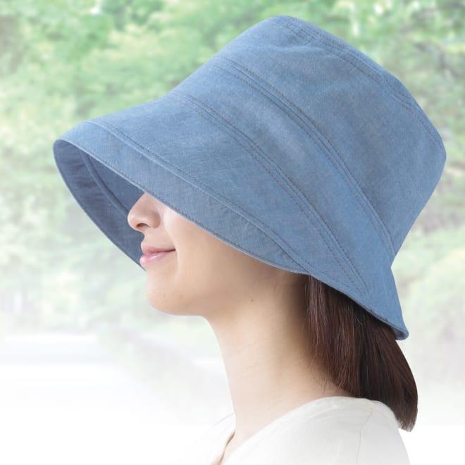 岡山児島ダンガリーのおでかけ帽子 (ア)ライトブルー コーディネート例 夏らしく涼やかなダンガリー生地