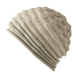 洗えるシルク混 グラデーション帽子(市松編み) (イ)ベージュ系