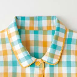 綿100%先染めパジャマ かわいい丸襟と配色テープ