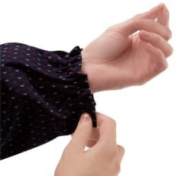 久留米織りかっぽうチュニック 袖口はゴム入りなので家事や水仕事の時にとっても便利!