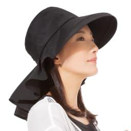 3WAY 遮熱クールUV帽子 ハットスタイル (ア)ブラック