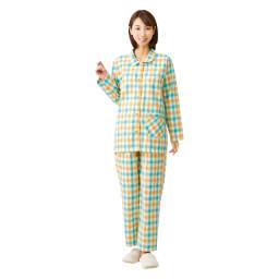 綿100%先染めパジャマ (イ)イエロー系 前開きのシャツタイプで脱ぎ着もラク。