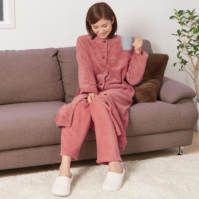 ふわふわ暖かロングパジャマ (ア)コーラル コーディネート例