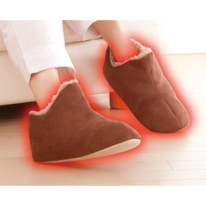 極暖 足が包まれるスリッパ 2足組 柔らかく手触りの良いポリスエード風 ※イメージ