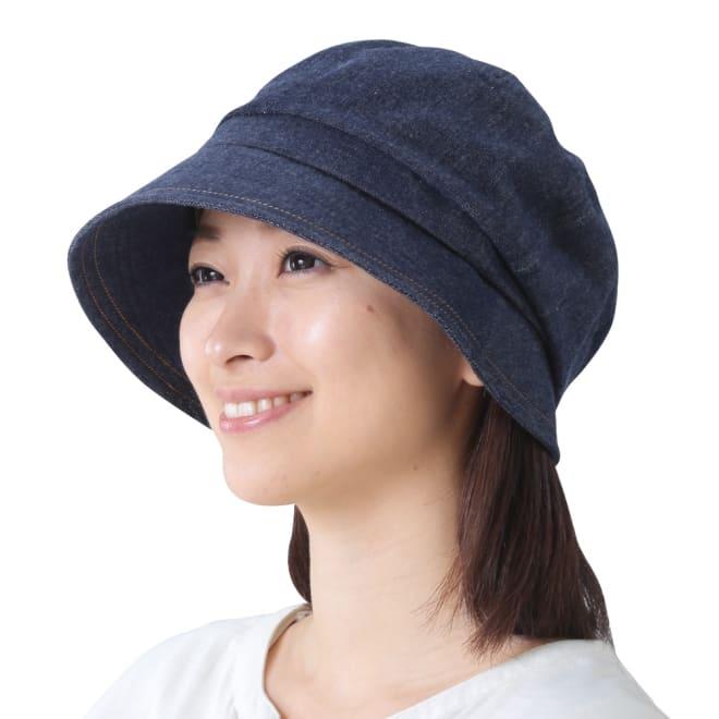 国産 岡山「児島デニム」のすっぴん小顔クロッシェ帽子 (ア)インディゴブルー コーディネート例